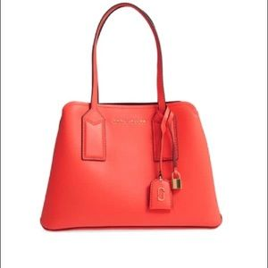 The Editor Leather Tote Poppy/Gold